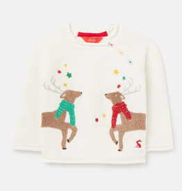 Joules White Reindeer Sweater
