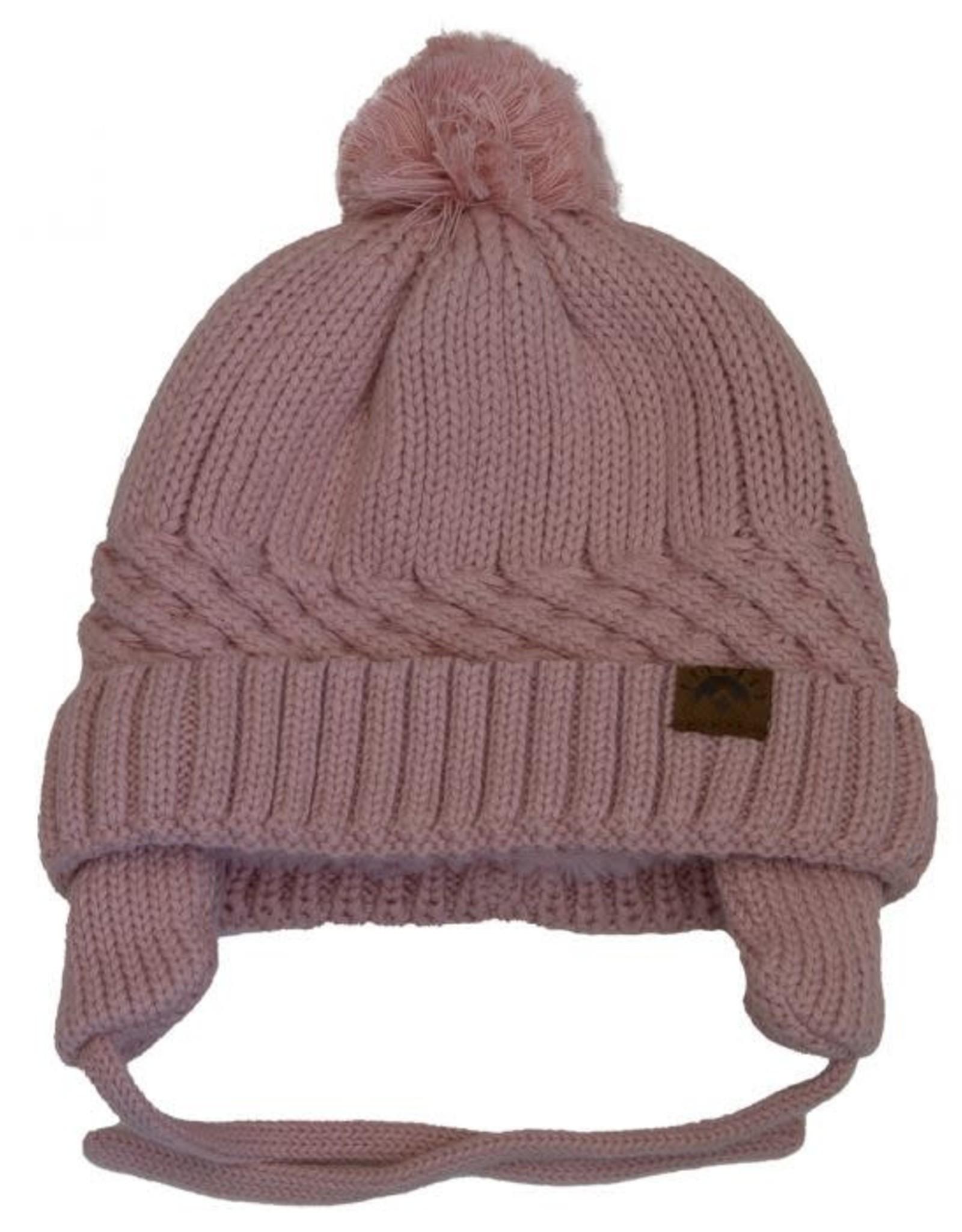 Calikids Ballet Pink Knit Hat w tie