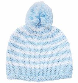 Huggalugs Blue Stripe Knit Pom Pom Beanie NB