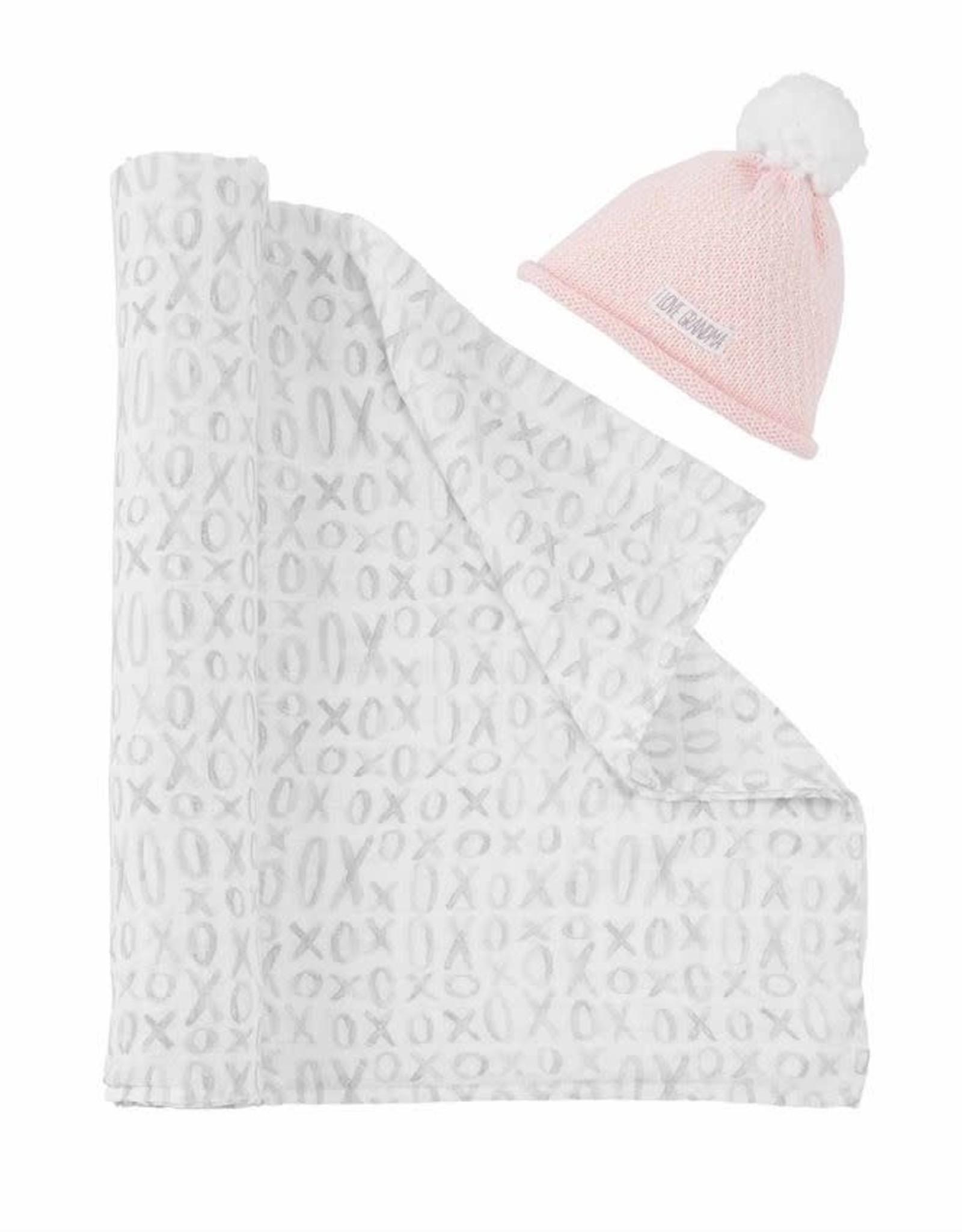 I Love Grandma Hat & Swaddle Pink