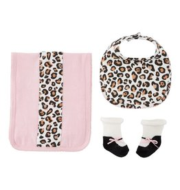 Leopard burp bib and socks set