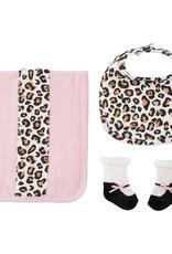 Leopard burp bib and socks set