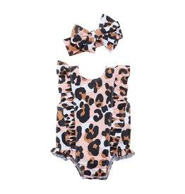 Ruffle Leopard Bathing Suit w/headband