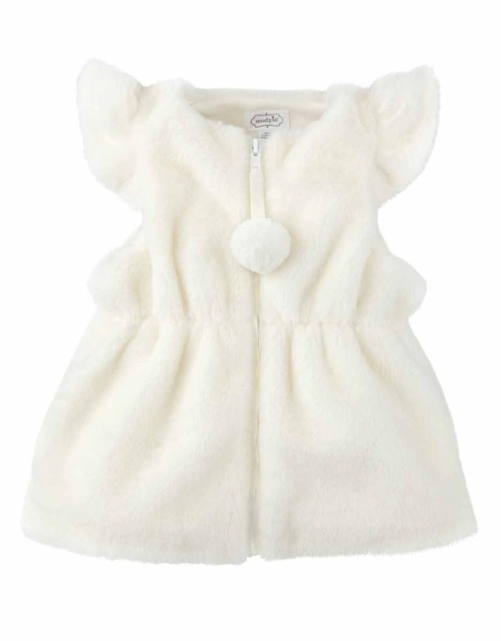 Ivory Cinched Fur Vest