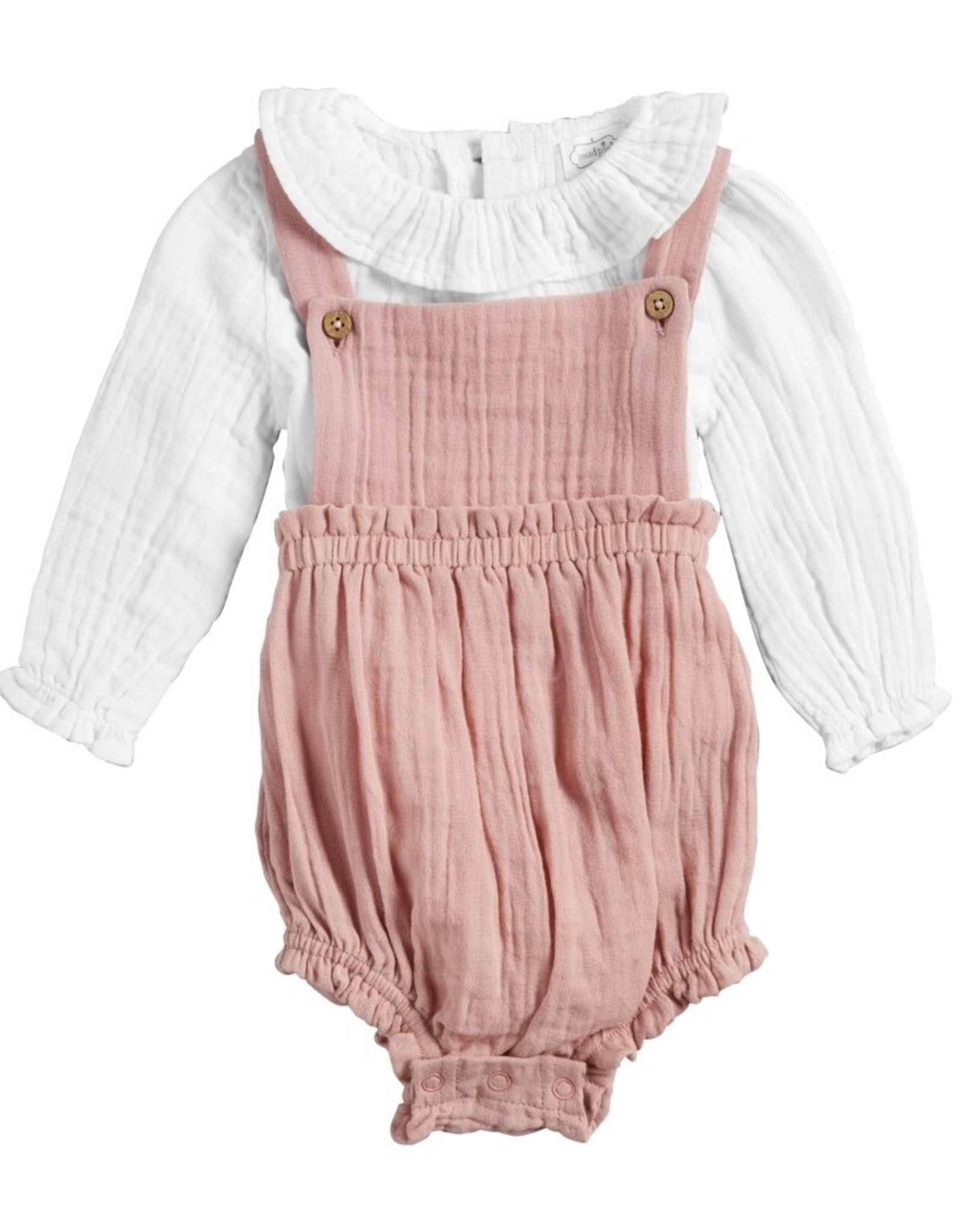 Pink Guaze Overall Set