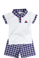Maddie and Connor Apple Polo/Short Set