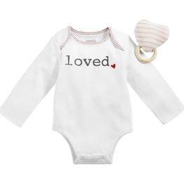 Heart Rattle/Loved Bodysuit Set 0-6m