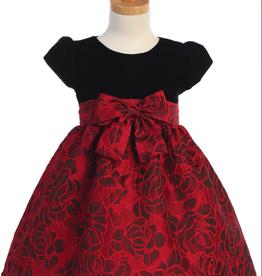Swea Pea & Lilli Red Rose Blk Velvet Dress