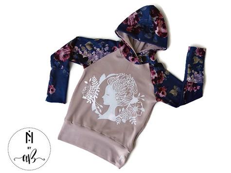 Création et Confection Alexandra Bauer Nörskin Collection - Hoodie Rose et visage blanc 3-6 ans