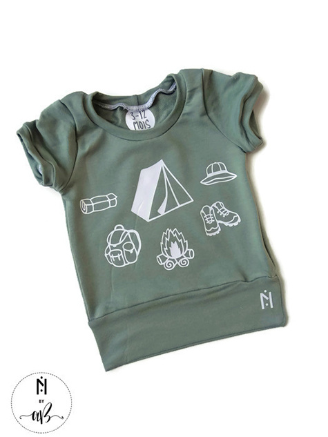 Création et Confection Alexandra Bauer Nörskin Collection - T-Shirt Vert Camping 12-36 mois