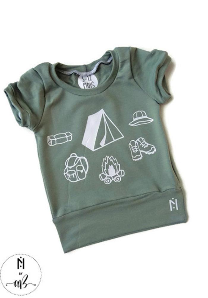 Nörskin Collection - T-Shirt Vert Camping 3-12 mois