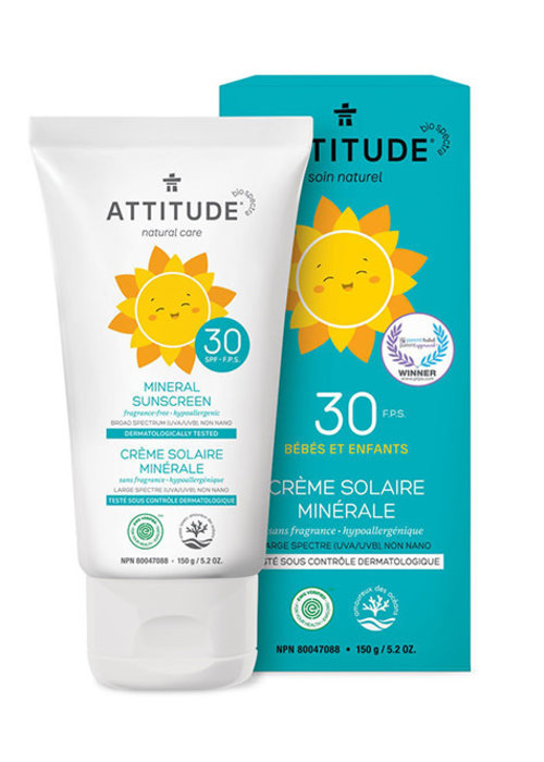 Attitude Attitude - Crème Solaire Bébé et Enfant FPS 30 - Sans Fragrance 150g