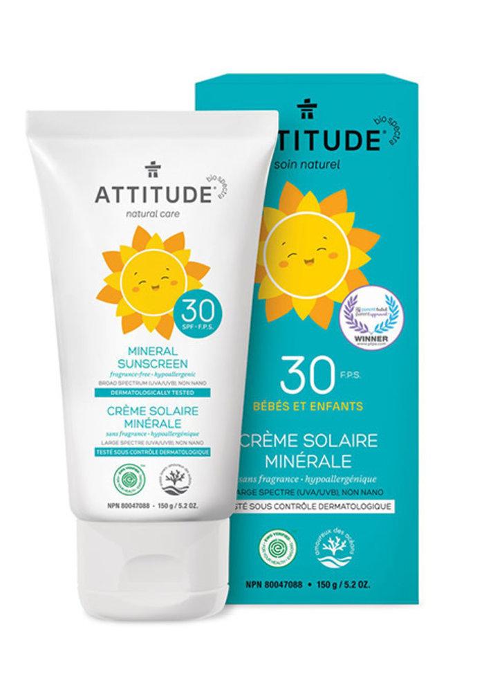 Attitude - Crème Solaire Bébé et Enfant FPS 30 - Sans Fragrance 150g