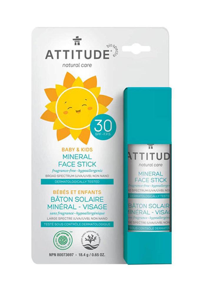 Attitude - Bâton solaire visage FPS 30 - sans fragrance bébé et enfant