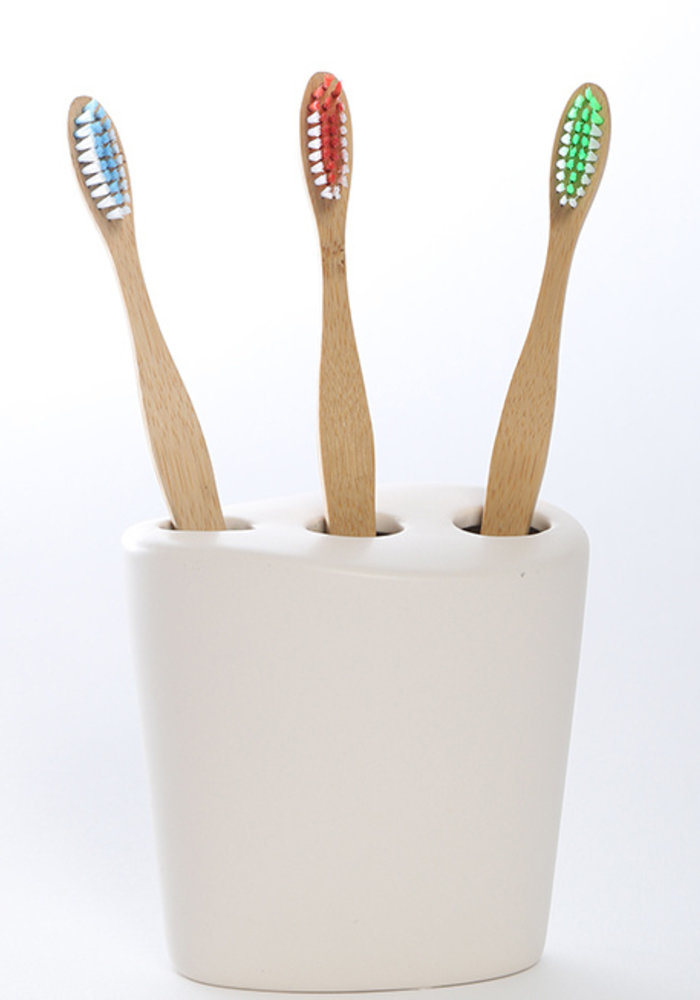 Ola bamboo - Brosse à dents en bambou - Souple Verte-bleue-rouge