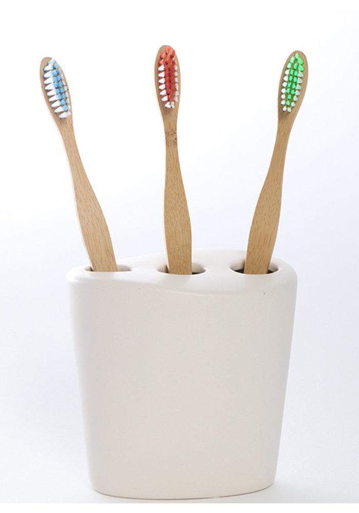 Ola bamboo - Brosse à dents en bambou - Souple:  Verte-bleue-rouge