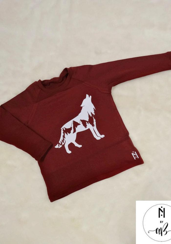 Chandail manche longue Bourgogne Loup