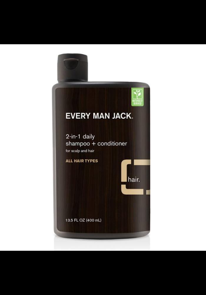 Every Man Jack - Shampoing et Revitalisant  2 en 1 - Bois de Santal tout type cheveux  400 ml