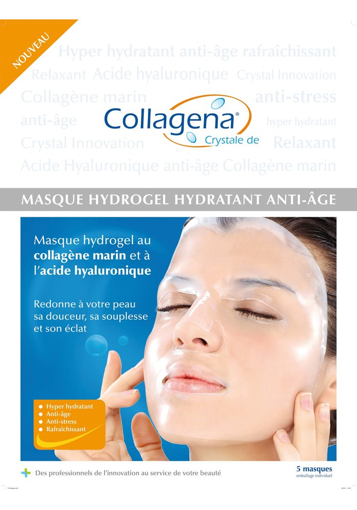 Revelox Collagena - Boîte de 5 Masque Hydrogel anti-âge collagène marin + AH