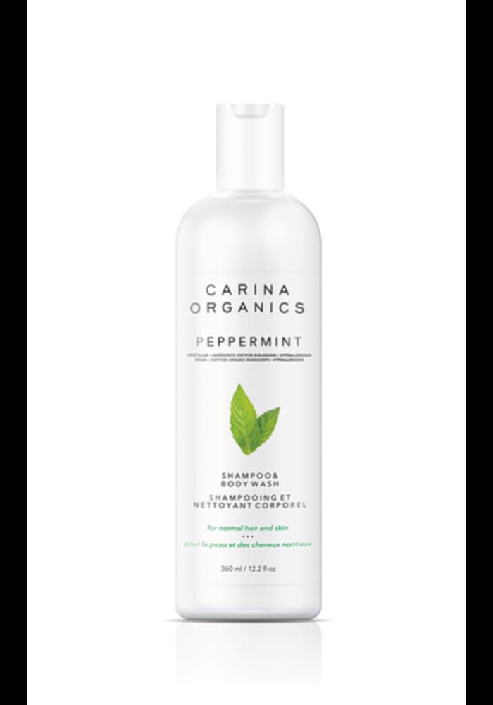 Carina - Shampooing et nettoyant pour le corps Peppermint 360ml