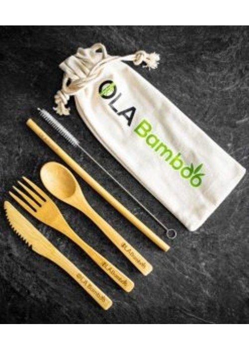 Ola Bamboo OLA Bamboo - Ensemble - Ustensiles en bambou réutilisables