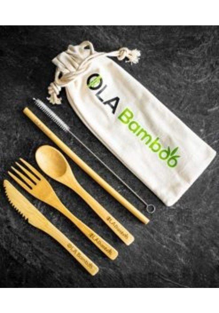 OLA Bamboo - Ensemble - Ustensiles en bambou réutilisables