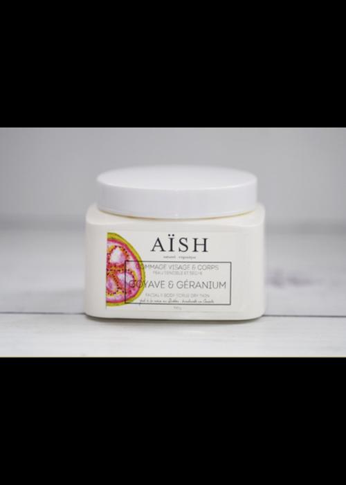 Aïsh Beauté - Gommage visage & corps Goyave et géranium - Tout type de peau 300g
