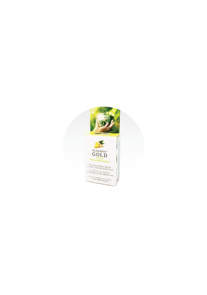Flosspot - REFILL Soie dentaire GOLD Vegan - Bocal  de fil dentaire