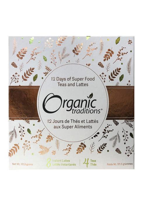 Organic Traditions Organic Traditions - Coffret cadeau - 12 jours de thés et lattés aux super aliments