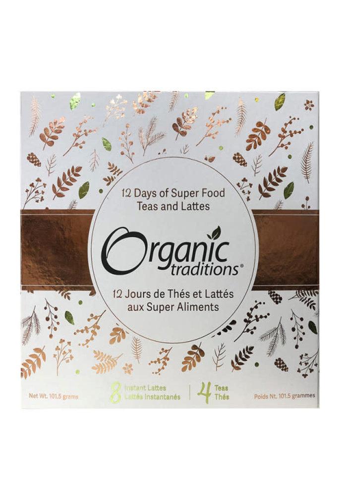 Organic Traditions - Coffret cadreau - 12 jours de thés et lattés aux super aliments