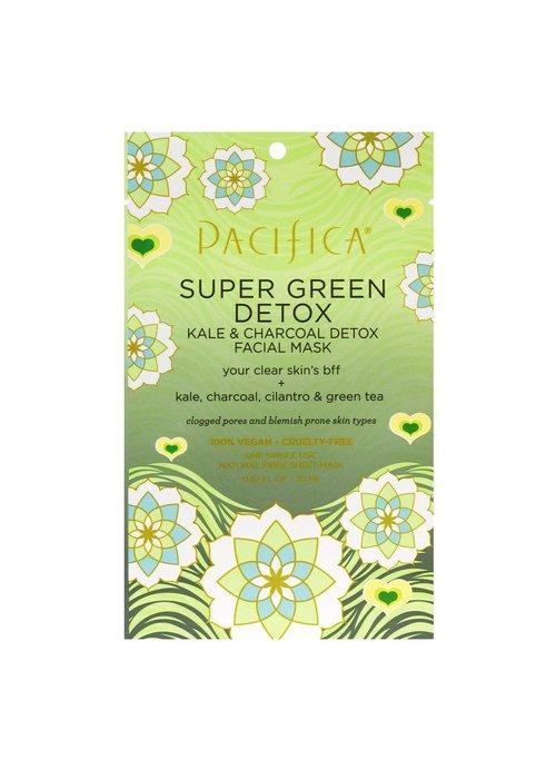 Pacifica Pacifica - Masque tissu Super Green Detox - Kale & Charbon & Coriandre & Thé vert (usage unique)