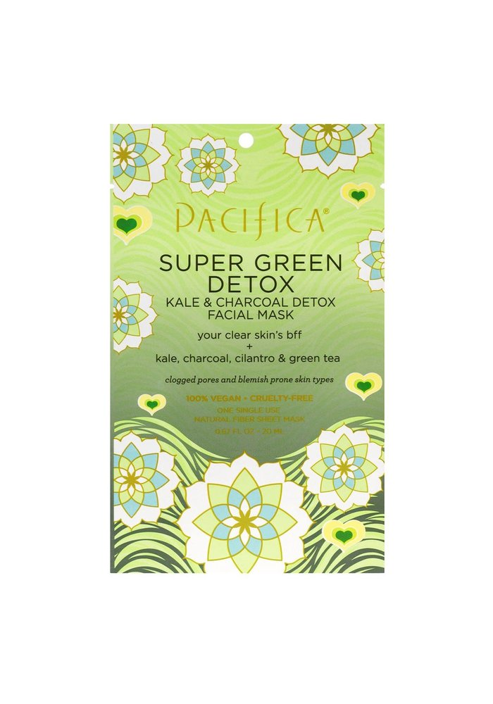Pacifica - Masque tissu Super Green Detox - Kale & Charbon & Coriandre & Thé vert (usage unique)