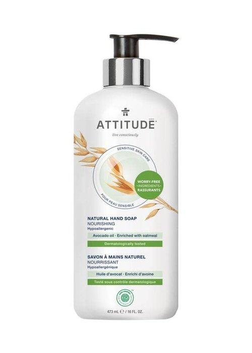 Attitude Attitude - Savon pour les mains Naturel pour peaux sensibles - Huile d'avocat enrichi d'avoine 473ml