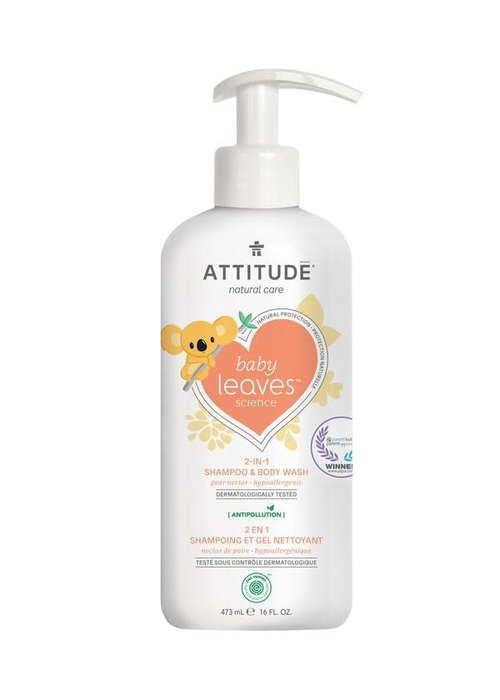 Attitude Attitude - 2 en 1 shampoing et nettoyant corps - Nectar de poire 473 ml