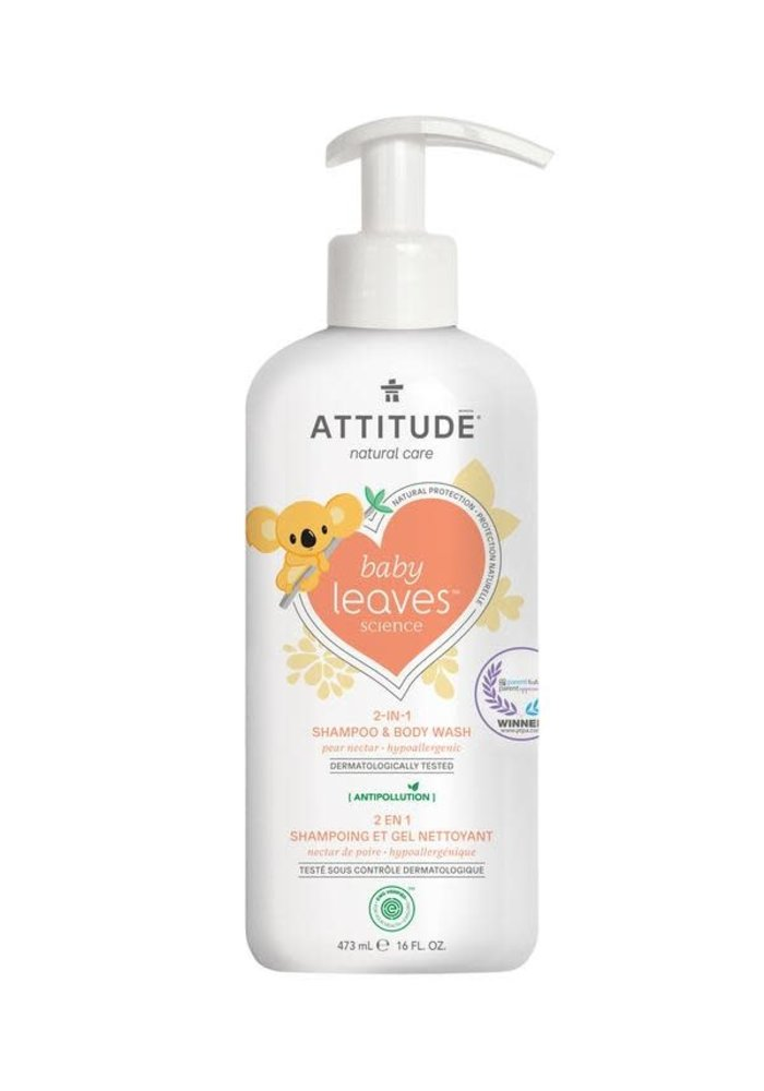 Attitude - 2 en 1 shampoing et nettoyant corps - Nectar de poire 473 ml