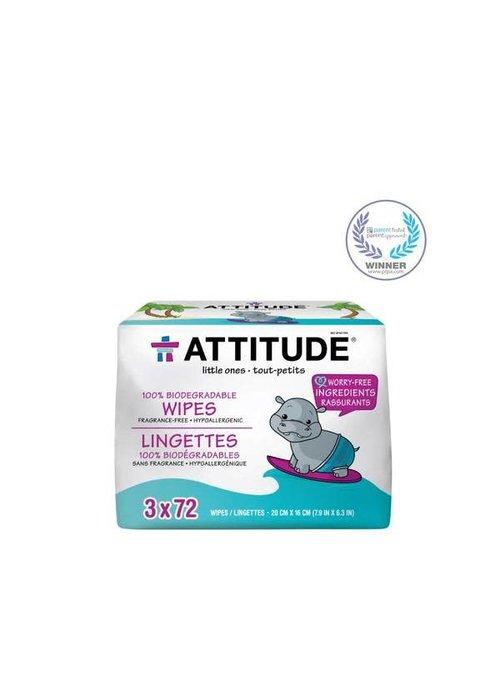 Attitude Attitude - Lingettes 100% Biodégradables 3x72