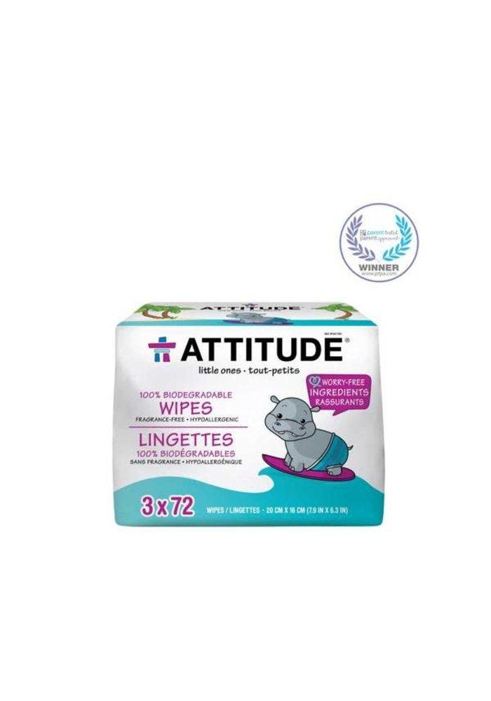 Attitude - Lingettes 100% Biodégradables 3x72