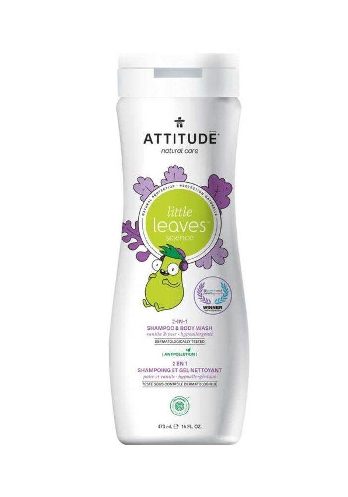 Attitude - 2 en 1 shampoing et nettoyant corps - Vanille et poire 473ml