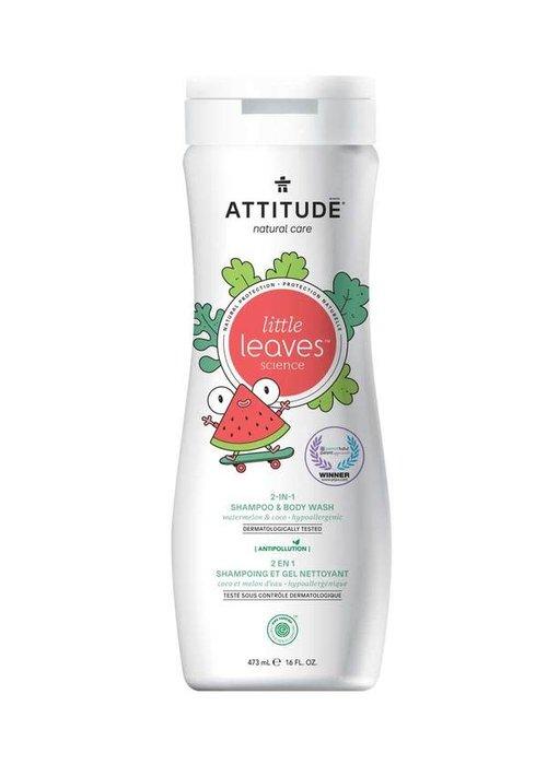 Attitude Attitude - 2 en 1 shampoing et nettoyant corps - Coco et melon d'eau 473ml