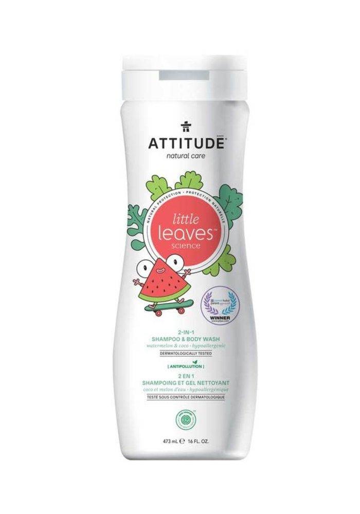Attitude - 2 en 1 shampoing et nettoyant corps - Coco et melon d'eau 473ml