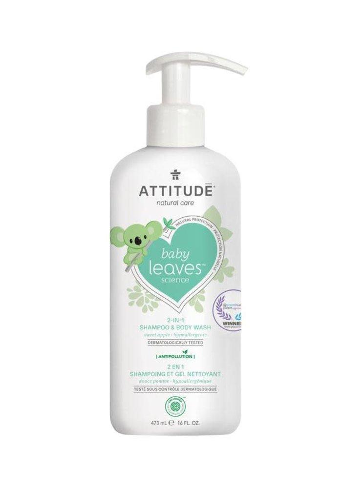 Attitude - 2 en 1 shampoing et nettoyant corps Baby - Douce pomme 473ml