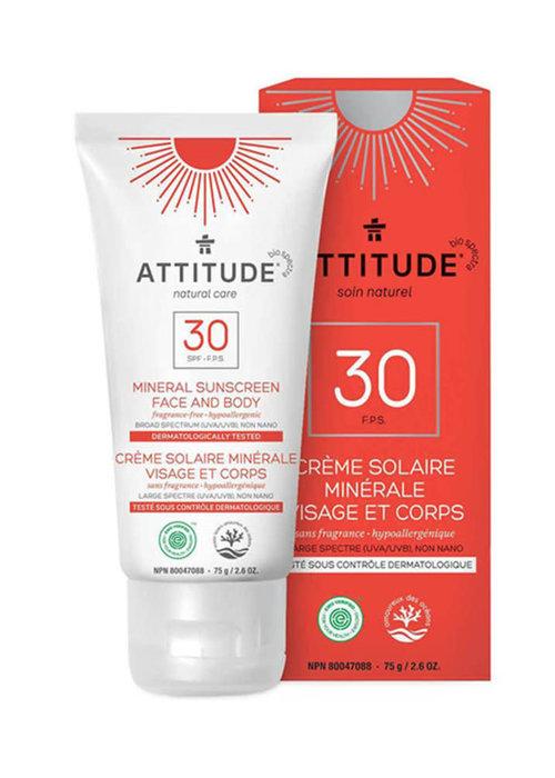 Attitude Attitude - Crème solaire visage et corps FPS 30 - sans fragrance - 75g