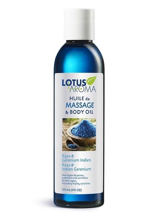 Lotus Aroma Lotus Aroma - Huile de massage Rose et Géranium Indien 120ml