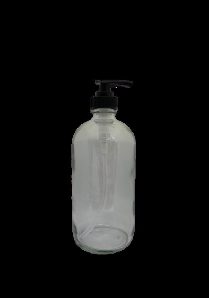 Norskin - Contenant 500ml verre  avec pompe (poids vide: 314g)