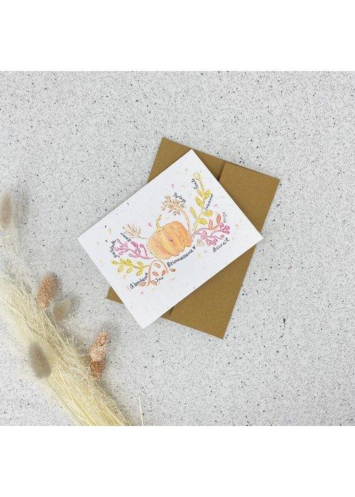 Survival Kit Carte de Souhaits Plantable Citrouille