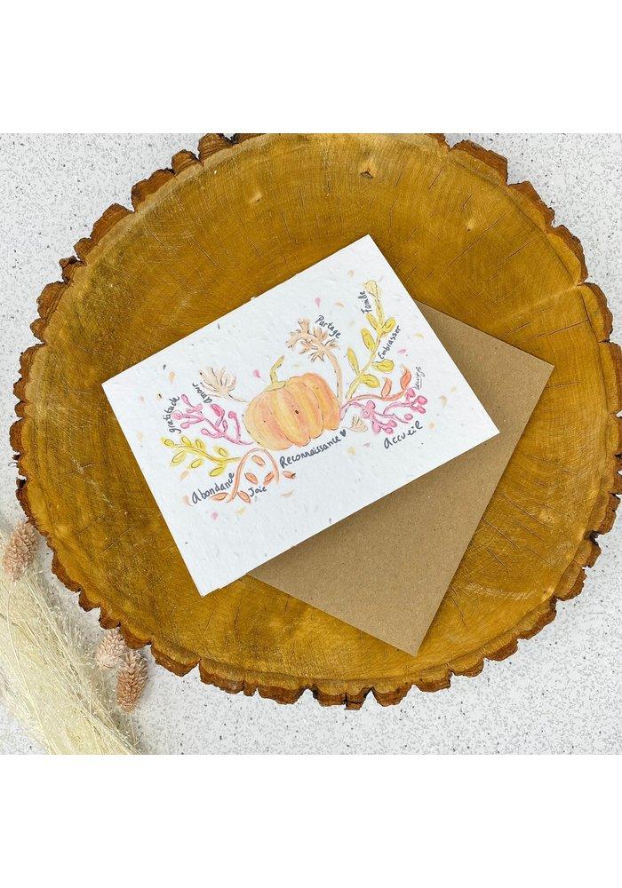 Carte de Souhaits Plantable Citrouille
