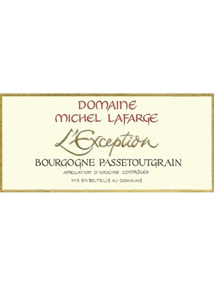 """Wine DOMAINE MICHEL LAFARGE """"L'EXCEPTION"""" PASSETOUTGRAIN BOURGOGNE ROUGE 2016"""