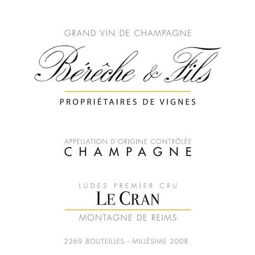 """Wine BERECHE ET FILS BRUT """"LE CRAN"""" 1ER CRU CHAMPAGNE 2010"""
