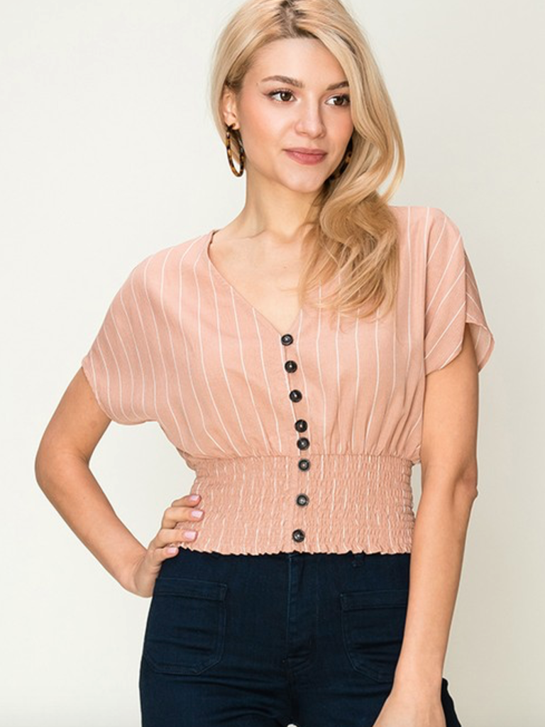 e50edf3b34081 Striped cap sleeve button down cropped blouse - Boho Lifestyle