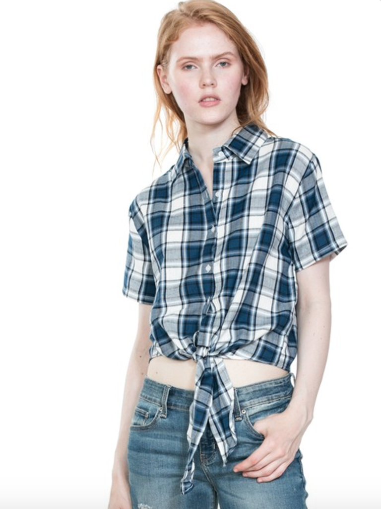f798adca Plaid cropped front tie top - Boho Lifestyle